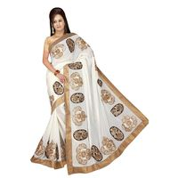 Vamika Georgette Women's Saree, off white