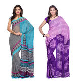 Fabdeal Faux Georgette Printed Saree Combo Of 2 (KNCR801151OCBF), multicolor