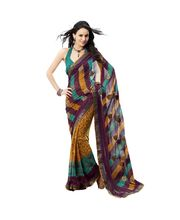 Fabdeal Stunnig Brown Printed Saree, Multicolor