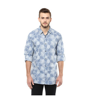 Printed Regular Shirt, m,  blue