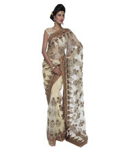 Fav Diva Glass Silk Antique Hand Work Saree, Multicolor