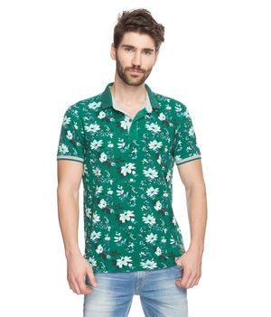 Printed Polo T-Shirt, l,  green