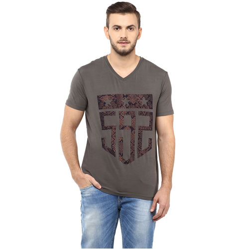 Printed V Neck T-Shirt, l,  olive