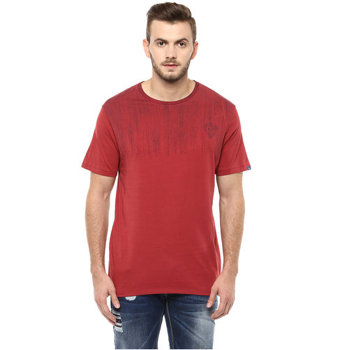 Printed Round Neck T-Shirt,  rust red, s