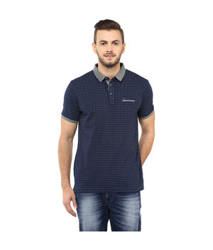 Printed Polo T Shirt, m,  navy