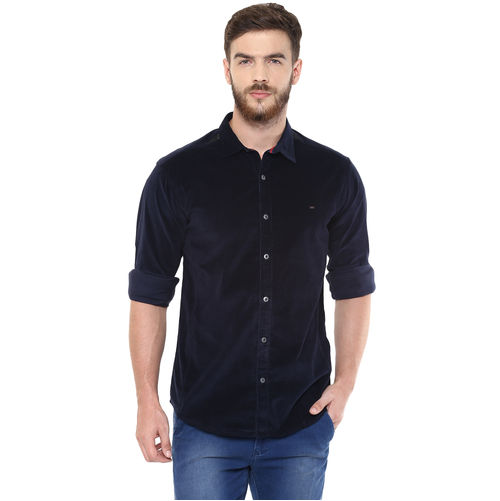 Solid Regular Slim Fit Shirt,  navy blue, s