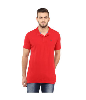 Solid Polo T-Shirt, s,  red