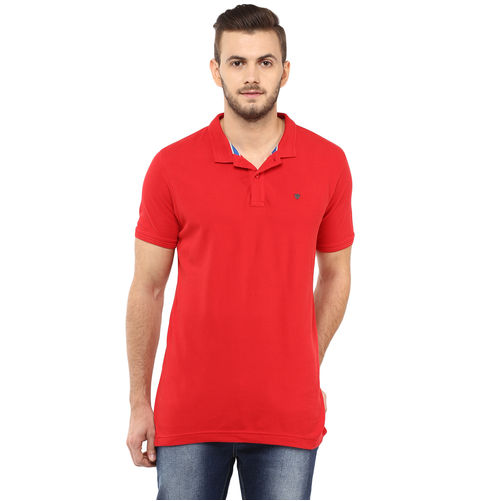 Solid Polo T-Shirt,  red, s