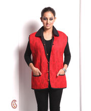 Comfy Cotton Quilted Jaipuri Womens Jacket In Red (Multicolor, L)