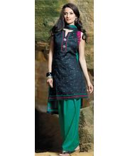 Black Resham Butta Top & Cambrik Salwar Suit