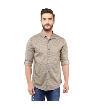 Printed Regular Shirt, l,  khaki