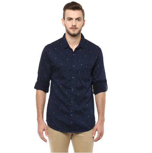 Printed Regular Slim Fit Shirt, l,  blue