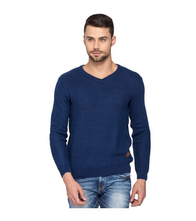 Knit V Neck Sweater, l,  indigo