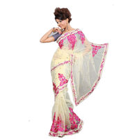 Vamika Net Women's Saree,  beige