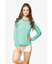 Miss Chase Classic Zip Me Up Shirt (MCPF13TP02-09-79), Green, L