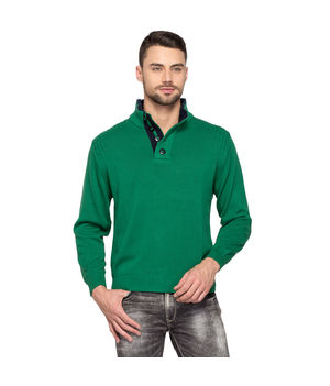 Solid Collar Neck Sweater,  green, m