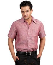 Yepme Linen Red Solid Half Sleeve Shirt