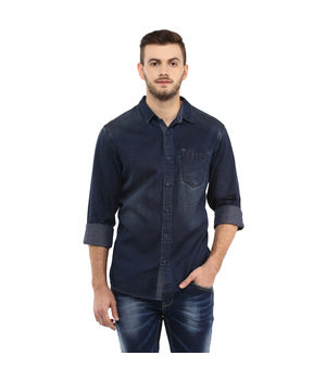 Denim Regular Shirt, l,  blue