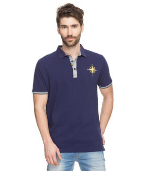 Solid Polo T-Shirt, m,  navy