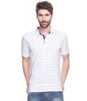 Printed Polo T-Shirt, m,  white