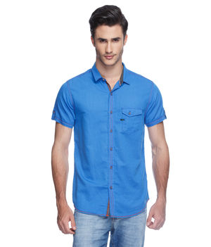 Solid Regular Slim Fit Shirt,  blue, m