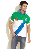 K Mark Diagonal Panel Applique Polo, green, xl