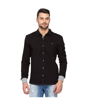 Knit Regular Slim Fit Shirt,  black, l