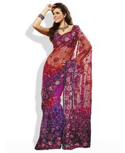 HIBA Net Saree With Rich Emboidery, red, fs available at Infibeam for Rs.3422