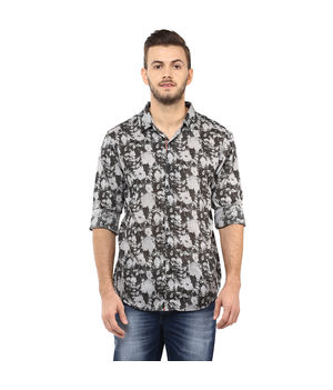 Printed Regular Slim Fit Shirt, xl,  black