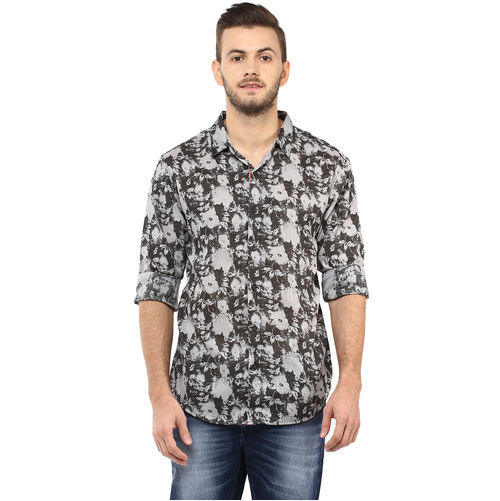 Printed Regular Slim Fit Shirt, l,  black