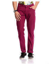 Good Karma Men Cotton Jeans - GKJ843, 30, dark pink