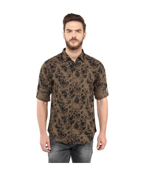Printed Regular Slim Fit Shirt, s,  brown
