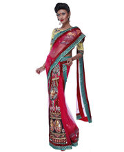 Fav Diva Net Lehenga Saree Motives, Multicolor