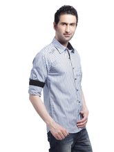 Crosscreek Casual Stripes F/s Shirt - 740373, Blue, L