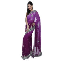 Fav Diva Pure Georgettehand Work Saree, multicolor