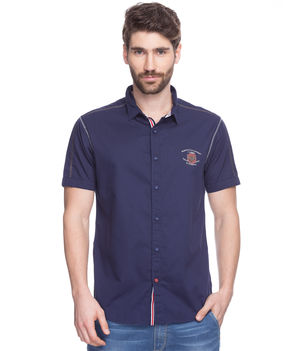 Solid Shirt In Slim Fit, xl,  navy blue