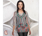 Striper Print Georgette Kurti With Bead Work, multicolor, s