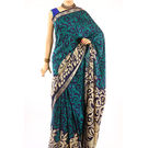 Fav Diva Premium Creap Printed Saree, multicolor