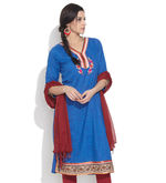 AIMI Embroidered Applique Kurta, medium blue, l