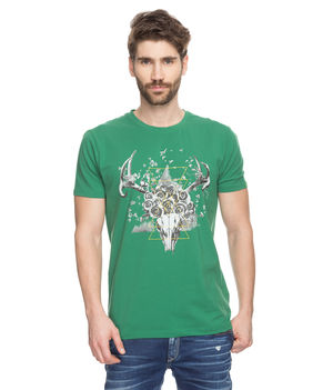 Printed Round Neck T-Shirt, s,  green