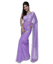 Fav Diva Faux Georgette Silver Hand Work Saree, Multicolor