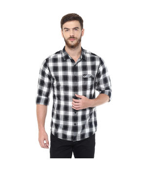 Checks Regular Slim Fit Shirt, l,  white