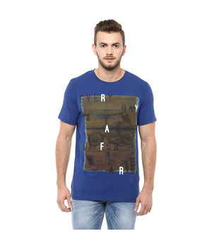 Printed Round Neck T Shirt,  royal blue, l