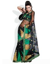 HIBA Temple Embroidered Net Saree, black, fs available at Infibeam for Rs.3269