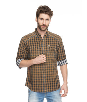 Checks Regular Slim Fit Shirt, xl,  brown