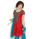 LOVELY LADY Embroidery Aura Kurta, red, 34