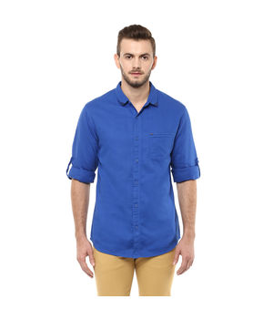 Solid Regular Shirt,  royal blue, l