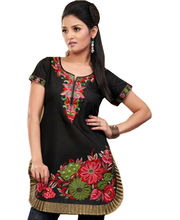 Fabdeal Black & Red Colored Embroidered Chanderi Silk Kurti