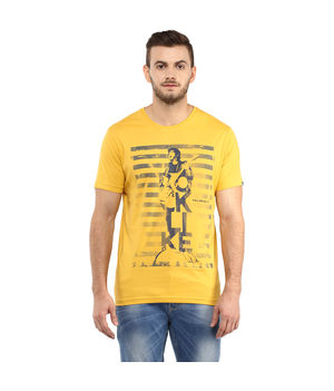 Printed Round Neck T-Shirt,  yellow, s