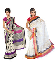 Fabdeal Super Net & Silk Printed Saree Combo Of 2 (JFCR6128C6594BRM), Multicolor